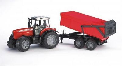 "Трактор ""Massey Ferguson 7480″ с прицепом  Bruder (Брудер)"
