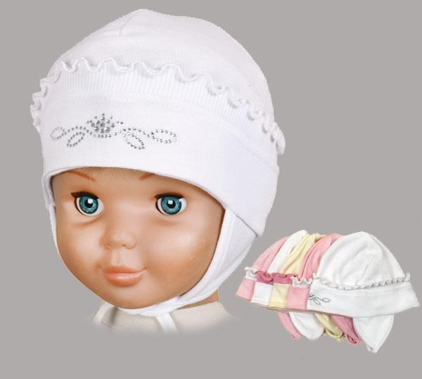 Шапочка-чепчик для малышки, AlbiNat – Konvar. Цвет: белый, с розовым кантиком.