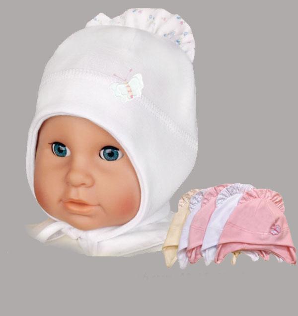 Шапочка-чепчик для малышки, AlbiNat – Konvar. Цвет: белый.