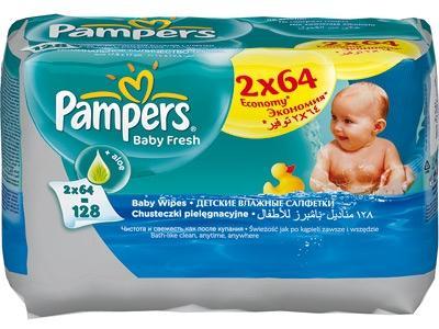 Влажные салфетки Baby Fresh Pampers  (Памперс Беби Фреш) ДУО сменный блок 2 х 64 шт.