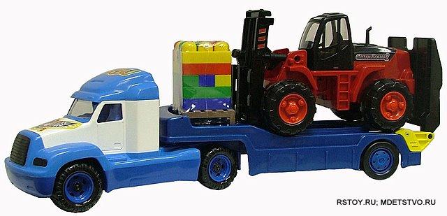 Автомобиль-трейлер, погрузчик и конструктор Супер-Микс 30 элементов на поддоне Полесье (Polesie)