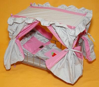 Кроватка с балдахином для куклы, розово-серебристая Gulliver (Гулливер)