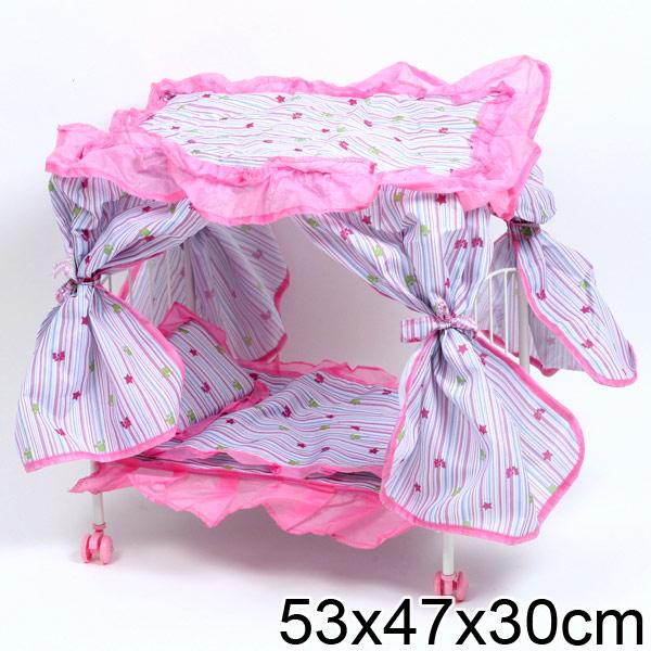 Кроватка для кукол на колесах Карапуз