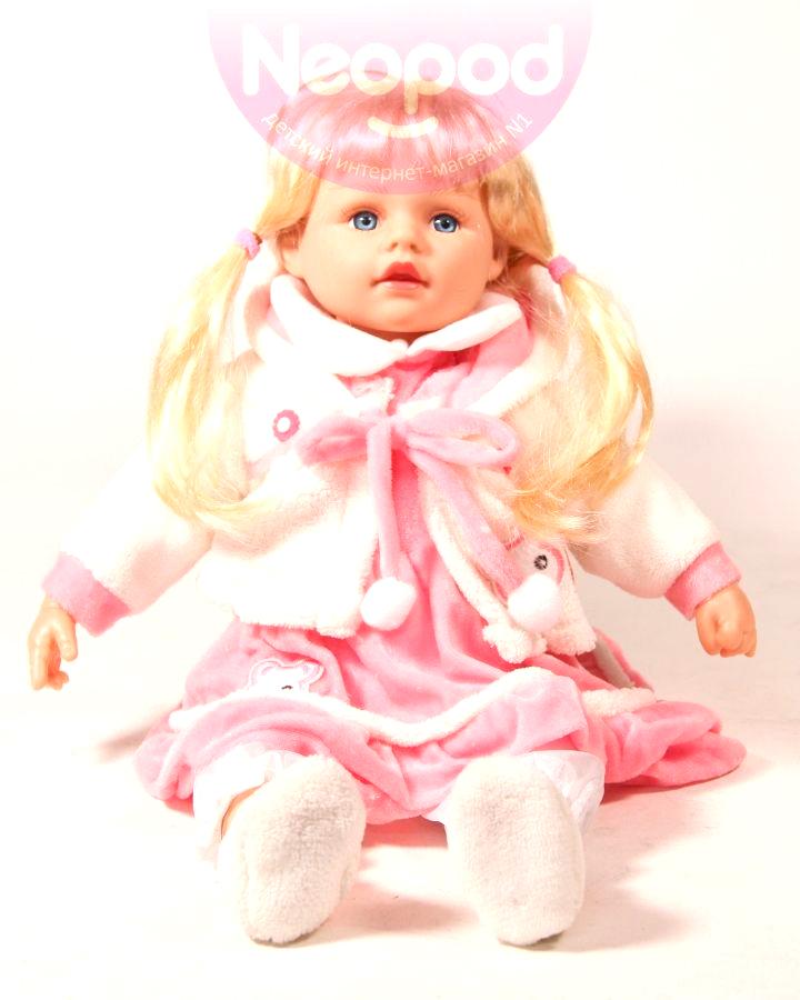 Кукла интерактивная, говорит 100 фраз, в белом жакете, 45 см Карапуз