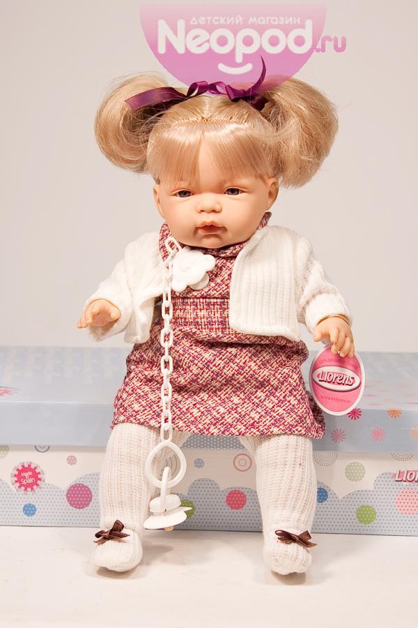 Кукла девочка 38 см, блондинка в белом жакете, озвучена Llorens (Лоренс)