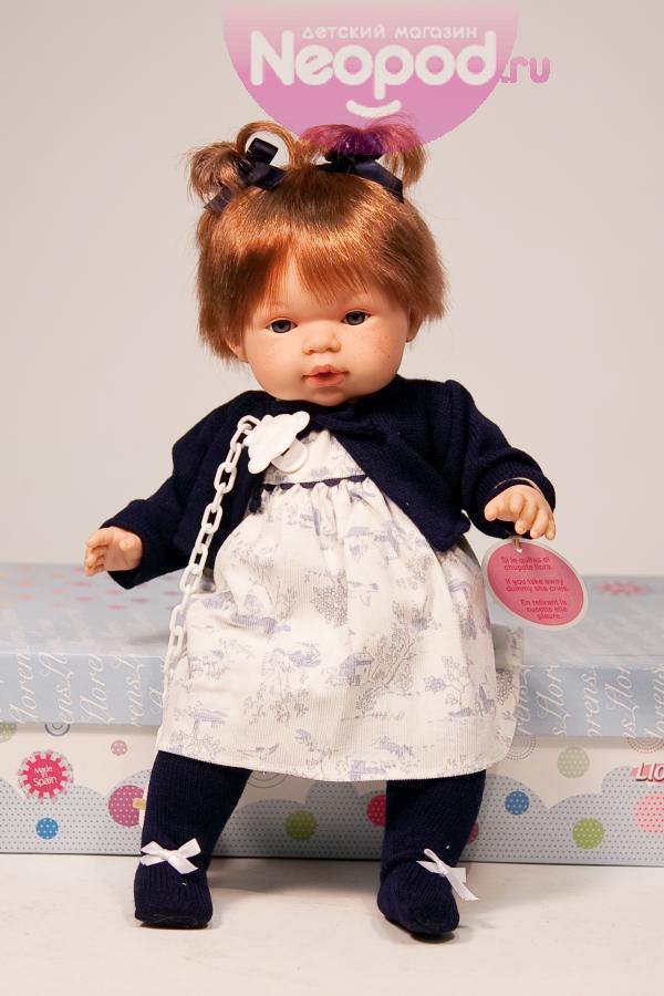 Кукла девочка 38 см, рыженькая в темно-синем, озвучена Llorens (Лоренс)