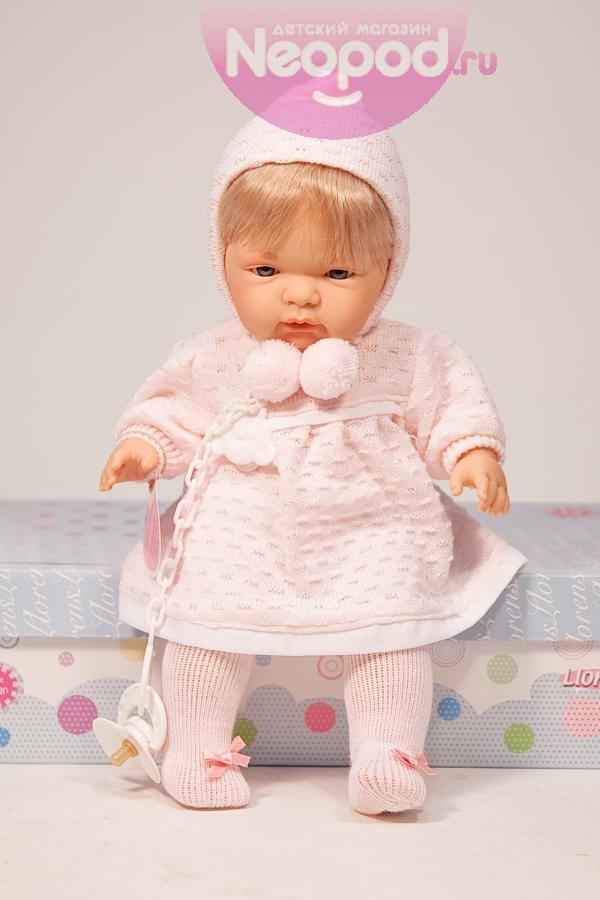 Кукла девочка 38 см, блондинка в розовом, озвучена Llorens (Лоренс)