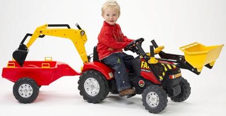 Трактор Falk (Фолк) педальный с ковшом, экскаватором и прицепом 180 см, красный