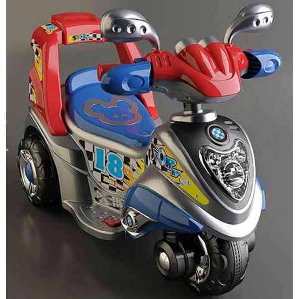 Детский электромотоцикл Bugati (Бугати) серый-синий-красный