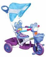 Детский трехколесный велосипед  КАНТРИ с ручкой, синий с сиреневым
