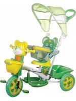 Детский трехколесный велосипед  КАНТРИ с ручкой, желто-зеленый